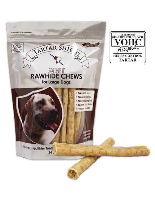 Tartar Shield Soft Rawhide Chews For Large Dogs 24 Count